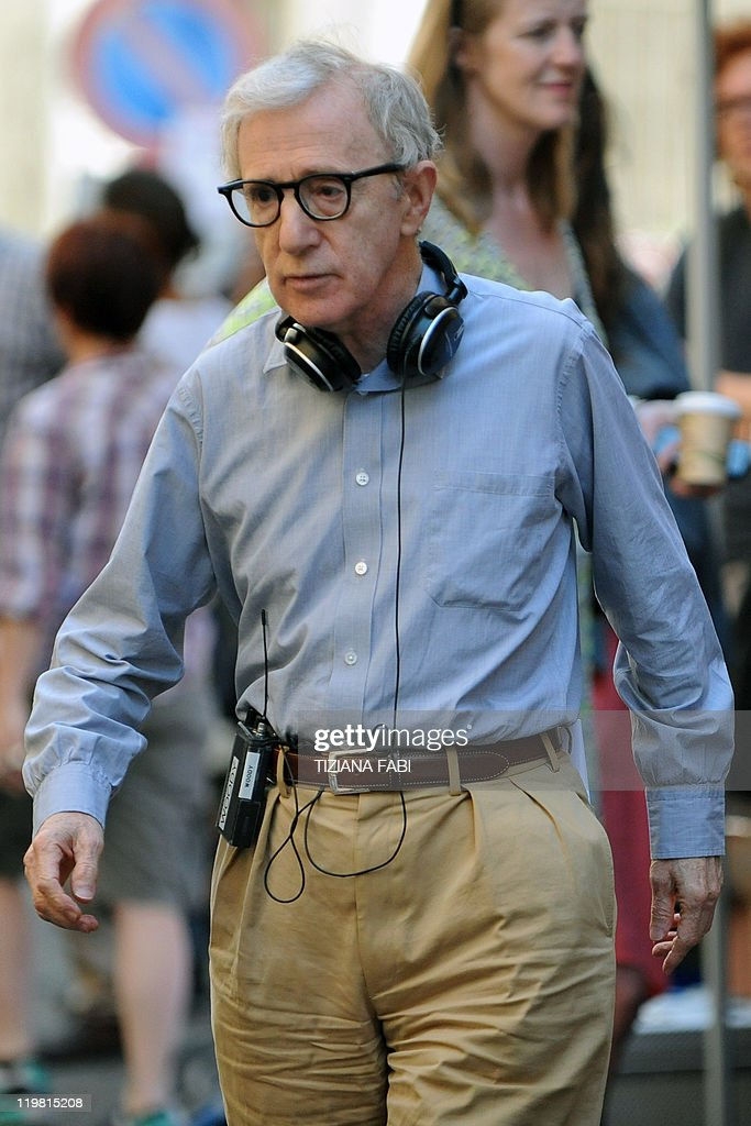 US film director Woody Allen walks at Piazza della Pace in central Rome during the filming of his new movie The Bop Decameron on July 25 2011 'Bop...
