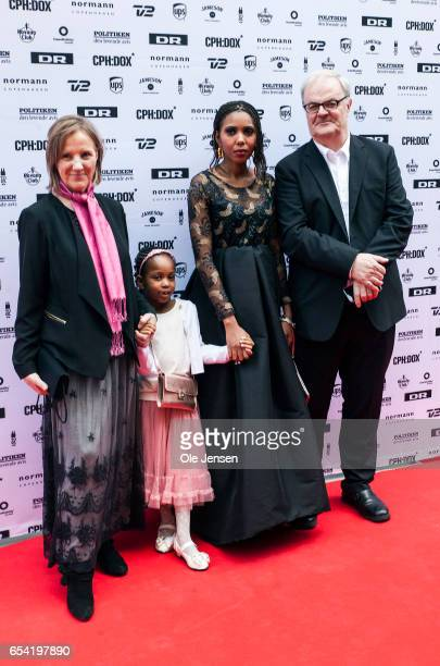 Film directors and producers Kate O'Callaghan and Patrick Farelly together with Jaha Dukureh pose on the red carpet before the world premiere on...