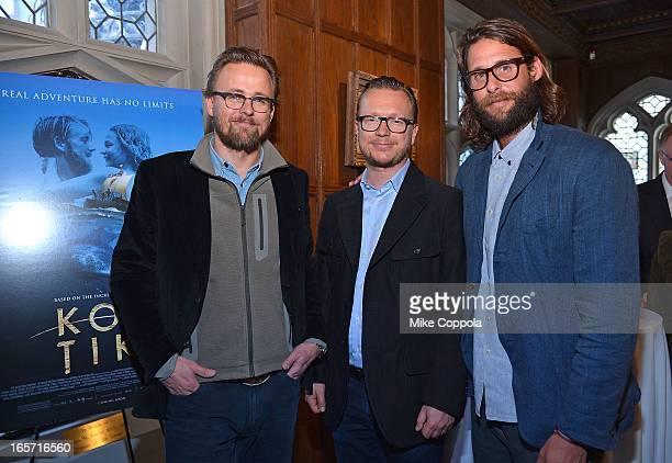 Film directors Joachim Ronning Espen Sandberg and environmentalist/adventurer David de Rothschild attend the 'KonTiki' Celebration Luncheon at...