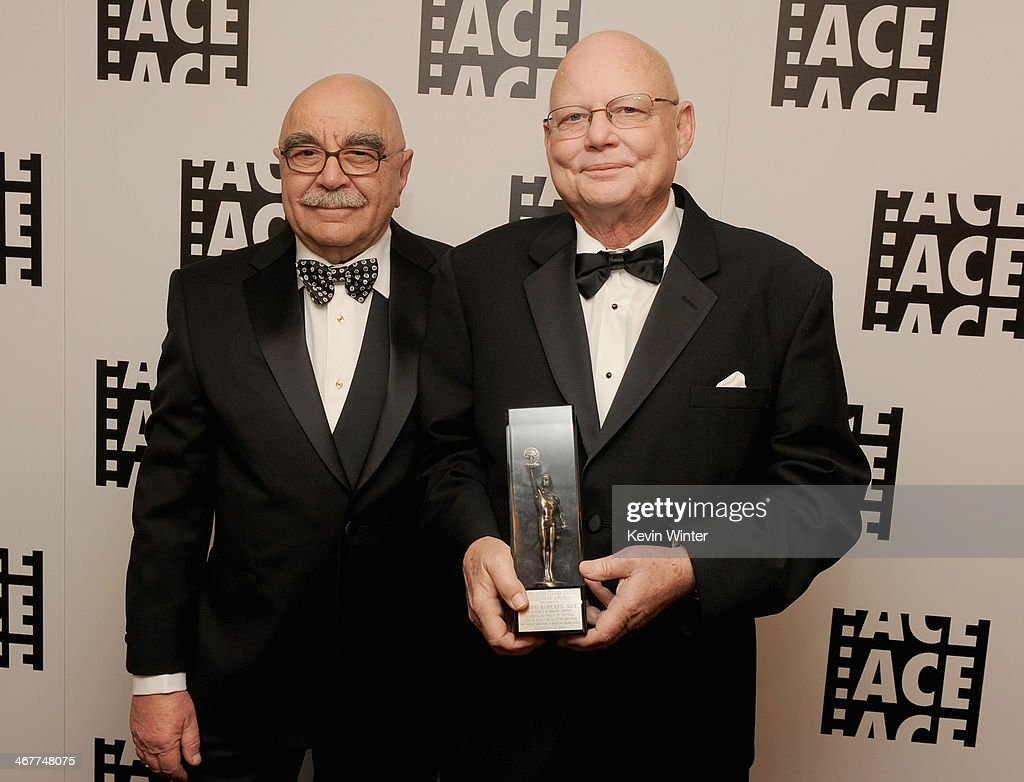 Film editor Alan Heim and honoree Randy Roberts pose with award in the green room at the 64th Annual ACE Eddie Awards at the Beverly Hilton Hotel on...