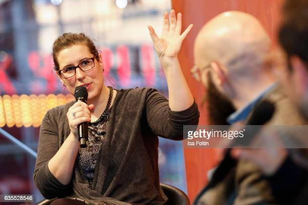 Film Editor Gesa Jaeger producer Jakob Lass and german moderator Friedemann Karig discuss during the Berlinale Open House Panel 'The Editor's Role'...