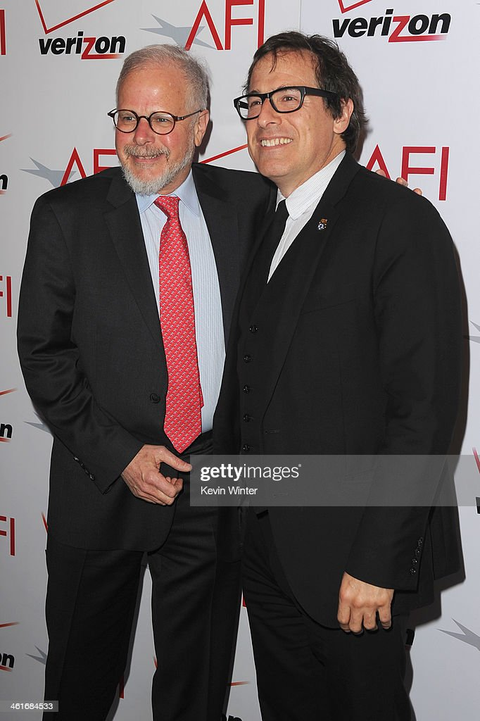 Film editor Jay Cassidy and director David O Russell attend the 14th annual AFI Awards Luncheon at the Four Seasons Hotel Beverly Hills on January 10...