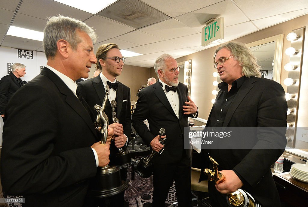 Film editors Alan Baumgarten Crispin Struthers and Jay Cassidy and honoree Paul Greengrass in the green room at the 64th Annual ACE Eddie Awards at...