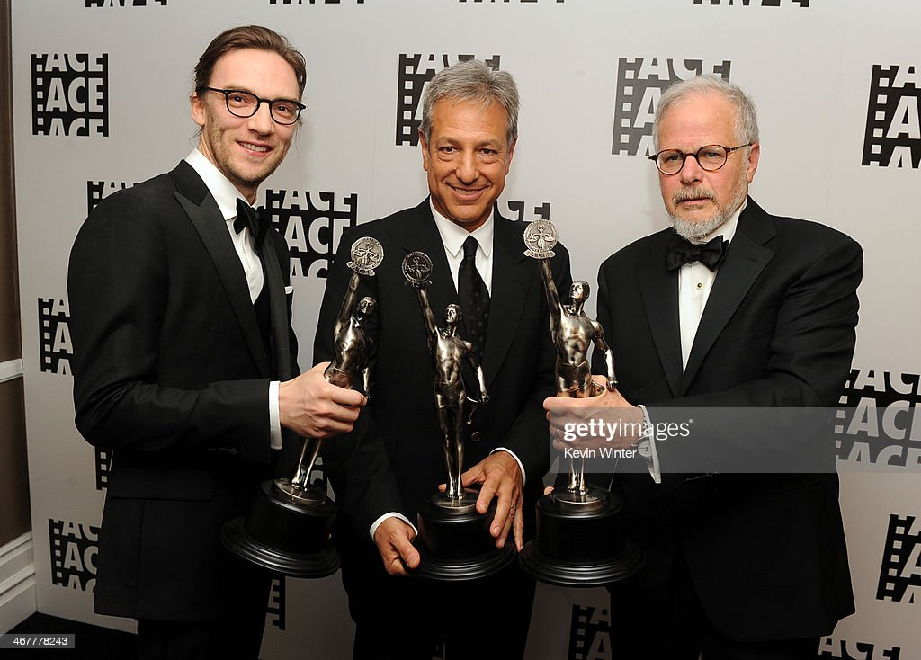 Film editors Crispin Struthers Alan Baumgarten and Jay Cassidy pose with awards in the green room at the 64th Annual ACE Eddie Awards at the Beverly...