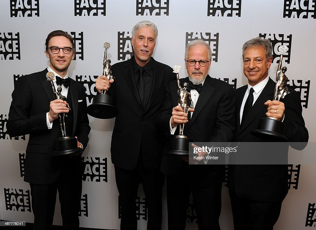 Film editors Crispin Struthers Christopher Rouse Jay Cassidy and Alan Baumgarten pose with awards in the green room at the 64th Annual ACE Eddie...