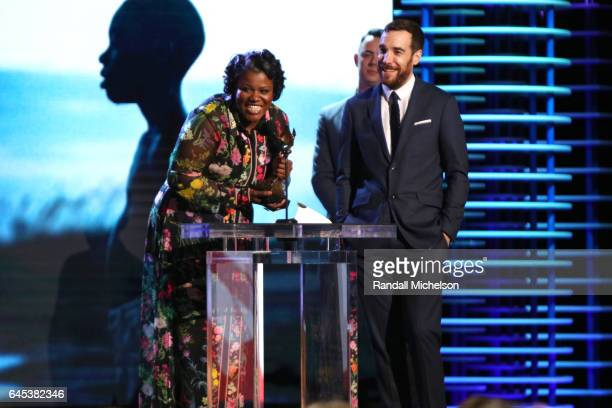 Film editors Joi McMillon and Nat Sanders accept the Best Feature award for 'Moonlight' onstage during the 2017 Film Independent Spirit Awards at the...