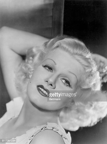 Film Favorite Gorgeous Jean Harlow platinum haired siren of the screen photographed in a position that brings out every angle of her classic features