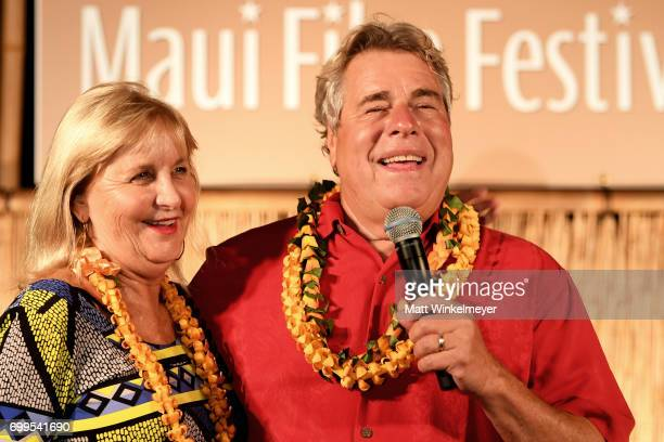 Film Festival founders Stella Rivers and Barry Rivers speak during the 'Celestial Cinema' during day one of the 2017 Maui Film Festival At Wailea on...