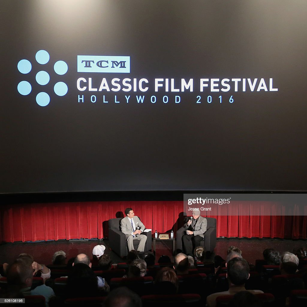 Film historian/author Jeremy Arnold (L) and cinematographer Nicholas Josef von Sternberg speak onstage during 'Never Fear' screening during day 2 of the TCM Classic Film Festival 2016 on April 29, 2016 in Los Angeles, California. 25826_009