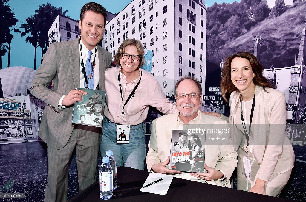 Film historian/author Jeremy Arnold (L), author Mark A. Vieira (3rd from left) and passholders attend Mark Viera book signing during day 2 of the TCM Classic Film Festival 2016 on April 29, 2016 in Los Angeles, California. 25826_006