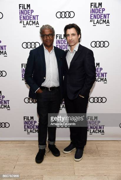 Film Independent at LACMA film curator Elvis Mitchell and writer and director Noah Baumbach attend the Film Independent at LACMA Special Screening...