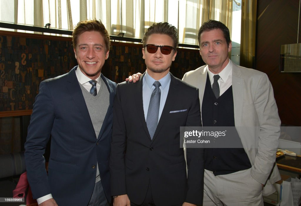 Film Independent Co-President Sean Mc Manus, actor <a gi-track='captionPersonalityLinkClicked' href=/galleries/search?phrase=Jeremy+Renner&family=editorial&specificpeople=708701 ng-click='$event.stopPropagation()'>Jeremy Renner</a> and Film Independent Co-President Josh Welsh attend the Film Independent Filmmaker Grant And Spirit Awards Nominees Brunch at BOA Steakhouse on January 12, 2013 in West Hollywood, California.
