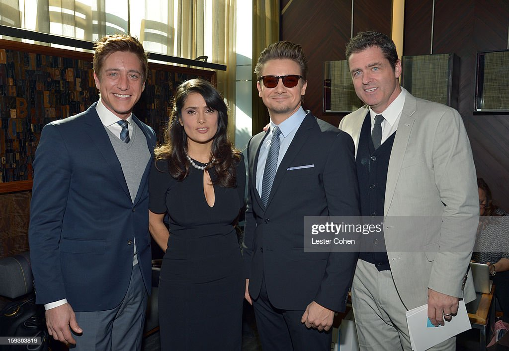 Film Independent Co-President Sean Mc Manus, actress <a gi-track='captionPersonalityLinkClicked' href=/galleries/search?phrase=Salma+Hayek&family=editorial&specificpeople=201844 ng-click='$event.stopPropagation()'>Salma Hayek</a>, actor <a gi-track='captionPersonalityLinkClicked' href=/galleries/search?phrase=Jeremy+Renner&family=editorial&specificpeople=708701 ng-click='$event.stopPropagation()'>Jeremy Renner</a> and Film Independent Co-President Josh Welsh attend the Film Independent Filmmaker Grant And Spirit Awards Nominees Brunch at BOA Steakhouse on January 12, 2013 in West Hollywood, California.