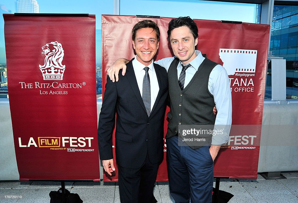 Film Independent copresident Sean McManus and actor Zach Braff attends the Filmmaker Reception during the 2013 Los Angeles Film Festival at Ritz...