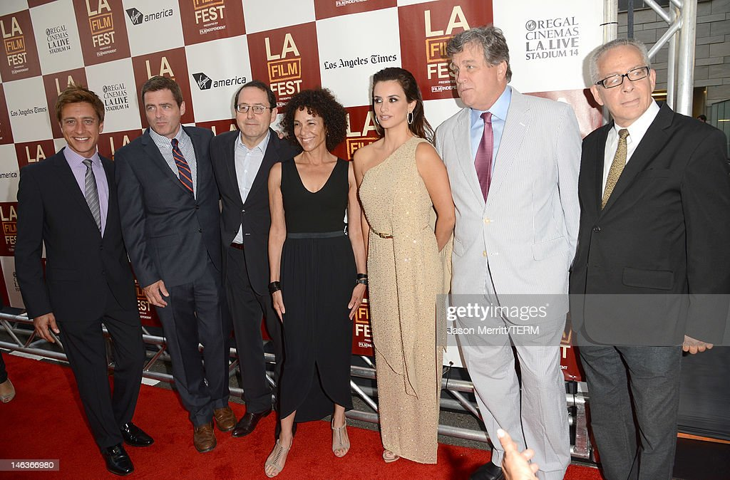 Film Independent co-presidents Sean McManus, Josh Welsh, Sony Pictures Classics co-president Michael Barker, Los Angeles Film Festival Director Stephanie Allain, actress Penelope Cruz, Sony Pictures Classics co-president Tom Bernard, and LAFF director David Ansen arrive at Film Independent's 2012 Los Angeles Film Festival Premiere of Sony Pictures Classics' 'To Rome With Love' at Regal Cinemas L.A. LIVE Stadium 14 on June 14, 2012 in Los Angeles, California.