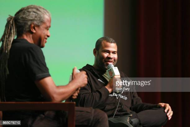 Film Independent Curator Elvis Mitchell and director/writer Jordan Peele speak onstage during day 3 of the Film Independent Forum at DGA Theater on...