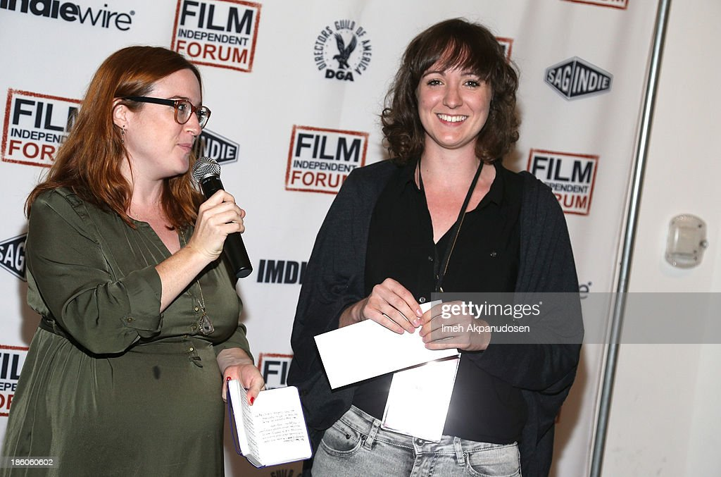 Film Independent Fellow Isabella Wing-Davey (Right), winner of the Sloan Grant, and moderator/Film Independent Director of Artist Development Jennifer Kushner attend the Film Independent forum at the DGA Theater on October 27, 2013 in Los Angeles, California.