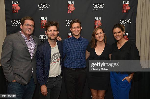 Film Independent President Josh Welsh actorproducer Adam Scott writerdirector Chris Kelly actress Molly Shannon and producer Naomi Scott attend an...