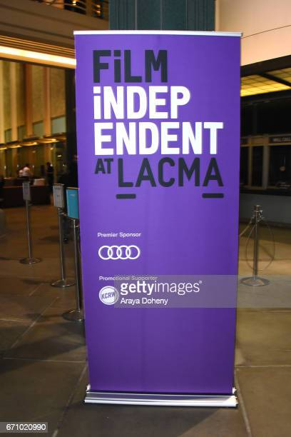 Film Independent signage at the Film Independent at LACMA Special Screening and QA of 'The Life Of Henrietta Lacks' at Bing Theatre At LACMA on April...