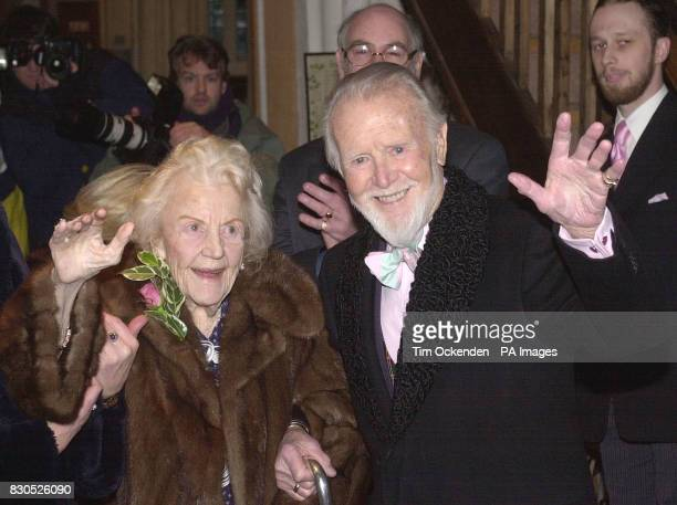 Film legend Sir John Mills with his wife Mary arriving at St Mary's Church in Denham Buckinghamshire before renewing his wedding vows The veteran...