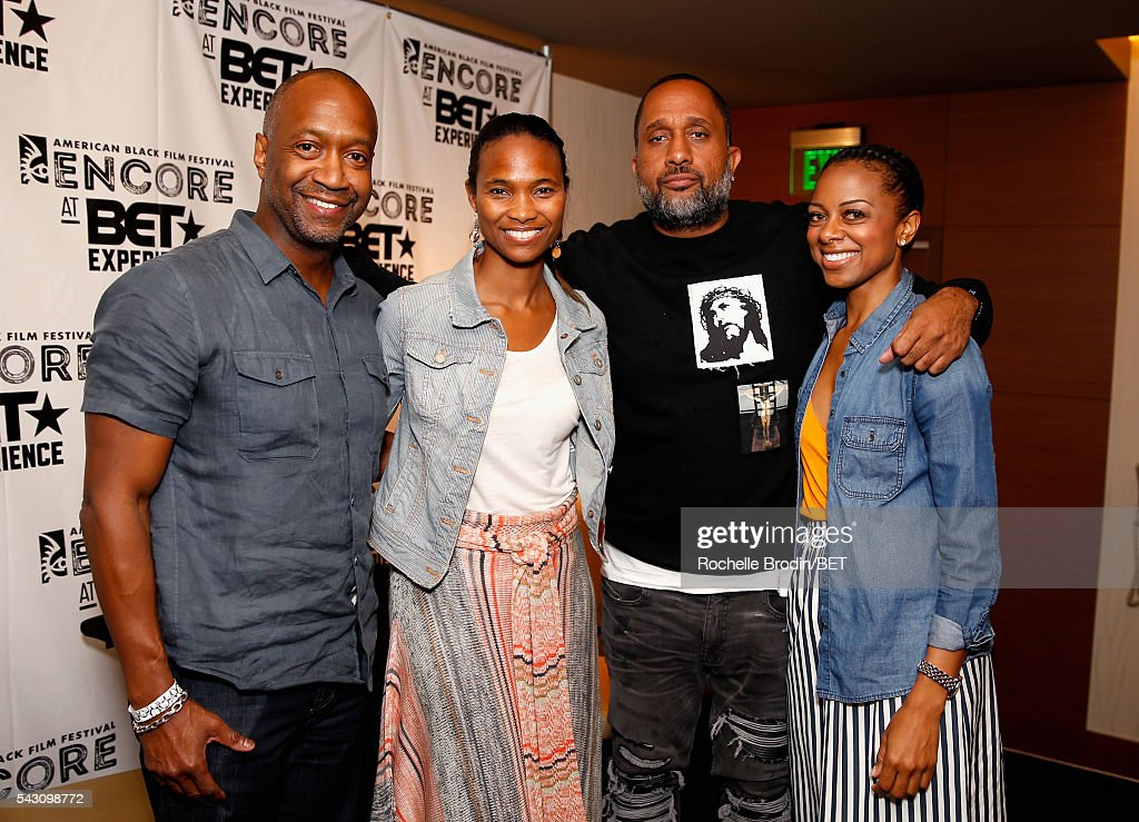 Film Life Founder and CEO Jeff Friday, food commentator/culinary instructor Nicole Friday, producer Kenya Barris and TV personality Nischelle Turner attend the ABFF Encore @ BET Experience Screening The Life of a Showrunner / Master Class during the 2016 BET Experience on June 25, 2016 in Los Angeles, California.