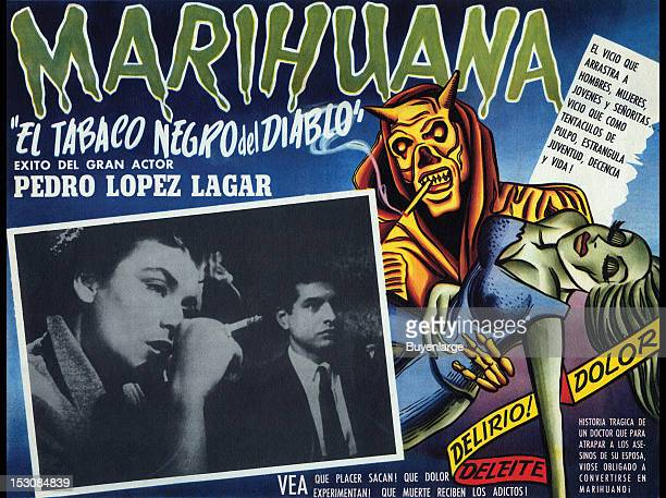 A film lobby card 'El Tobaco Negro del Diablo' from Argentina for a Spanish film about a respected surgeon Pablo Urioste is forced to experience a...