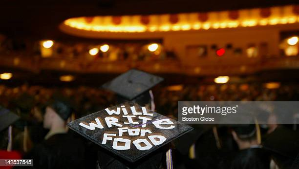 Film Major Paul Lurie uses his graduation cap to help his job search at the Wang Center during Emerson College's 124th commencement ceremony It reads...