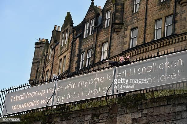 Film maker Terri Gilliam reveals a ten meter long illuminated neon quotation from Miguel de Cervantes Don Quixote on February 12 2015 in Edinburgh...