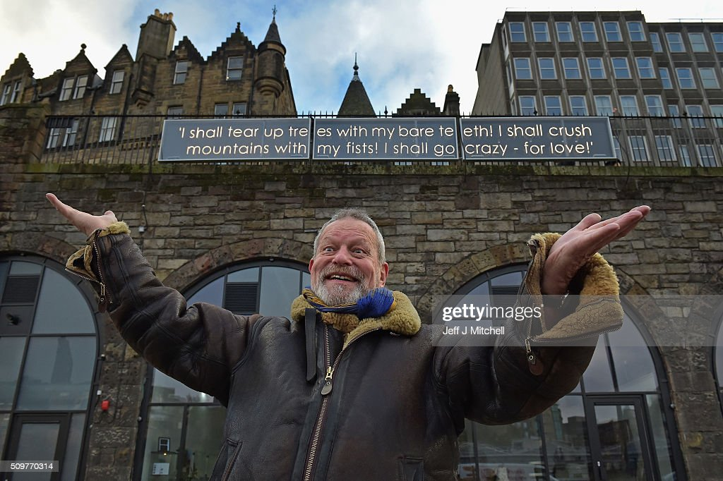 Film maker Terri Gilliam reveals a ten meter long illuminated neon quotation from Miguel de Cervantes, Don Quixote on February 12, 2015 in Edinburgh, Scotland. The neon quotation was unveiled ahead of Valentines Day and is part of Words on the Street project run by Edinburgh UNESCO City Literature Trust, celebrating power of great books and Edinburghs strength as a centre for books and publishing.