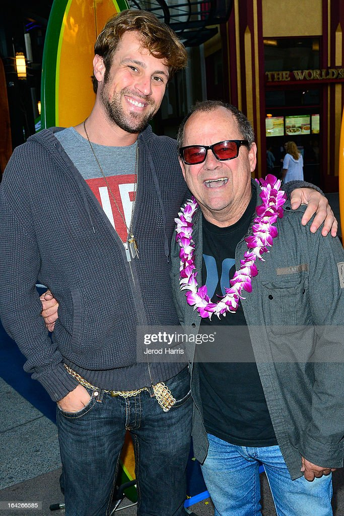 Film maker Wes Brown and surfing legend Peter 'PT' Townend arrive at Disney's 'A Deeper Shade Of Blue' surfing documentary premiere at AMC Downtown Disney 12 Theater on March 21, 2013 in Anaheim, California.
