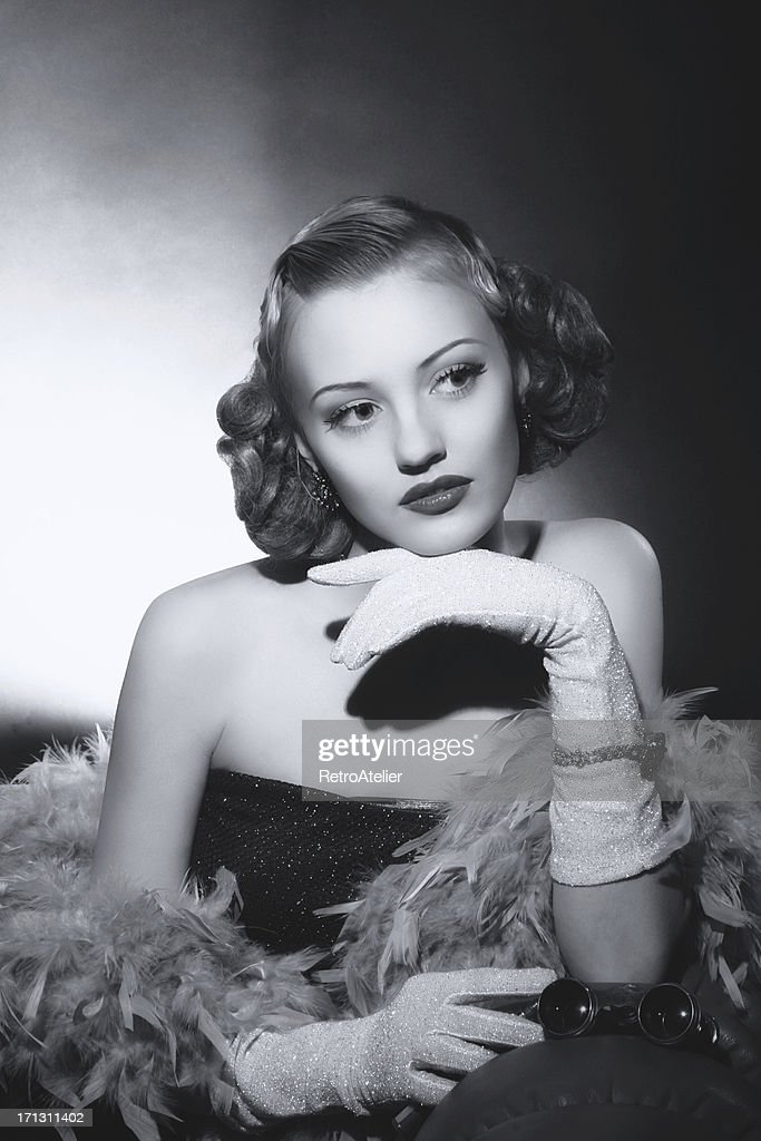 Film Noir style. Female portrait : Stock Photo