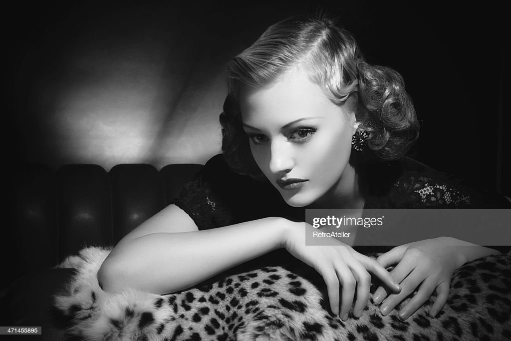 Film Noir style. Female portrait : Stock Photo