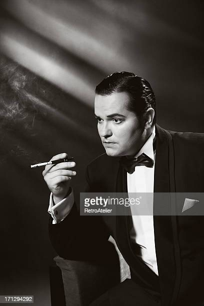 Film Noir style.Smoking man