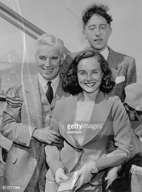 Film Pair Return San Francisco California Charlie Chaplin and Paulette Goddard together with Paulette's mother Mrs Alta Goddard returned from a...