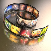 Photographic film with several photos on an uneven table metal. Clipping path included.