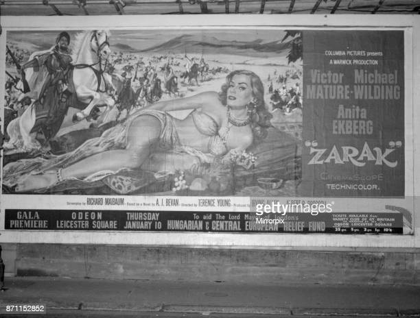 A film poster featuring actress Anita Ekberg in the motion picture Zarak was described as bordering on the obscene by Labour peer Lord Lucas of...