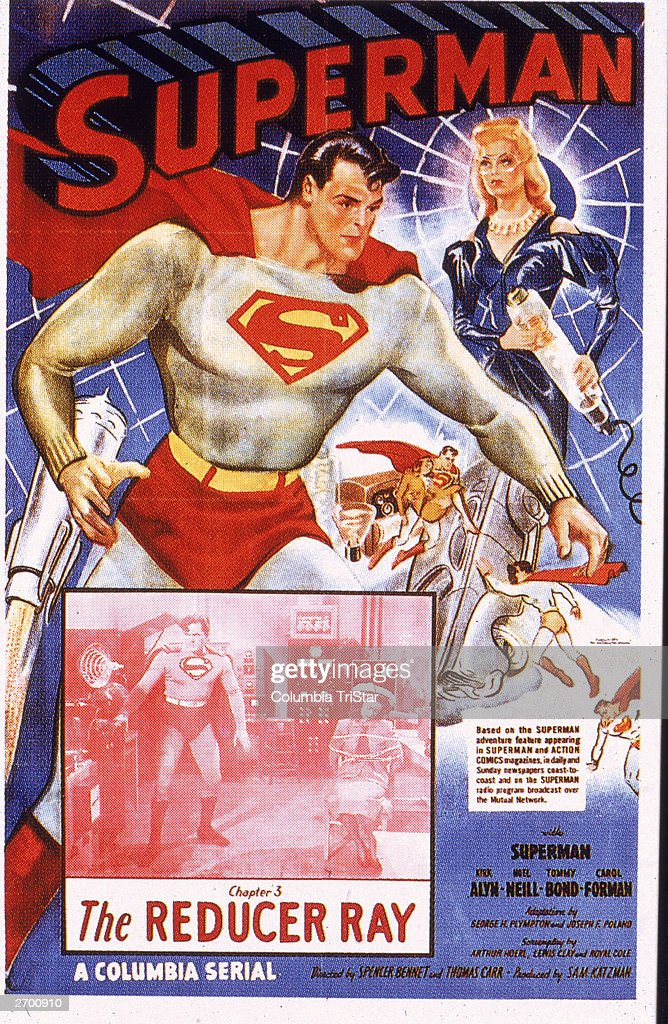 Film poster for an episode of an early 'Superman' serial, starring actor Kirk Alyn as Superman battling a 'reducer ray,' 1948.