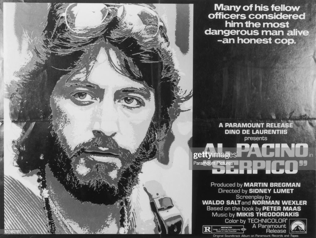 A film poster for Sidney Lumet's police corruption drama 'Serpico', starring American actor Al Pacino in the title role, 1973.