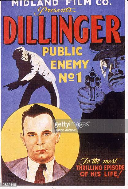 Film poster showing an illustration of American gangster John Dillinger to advertise a short newsreel film called 'Dillinger Public Enemy No 1' 1934