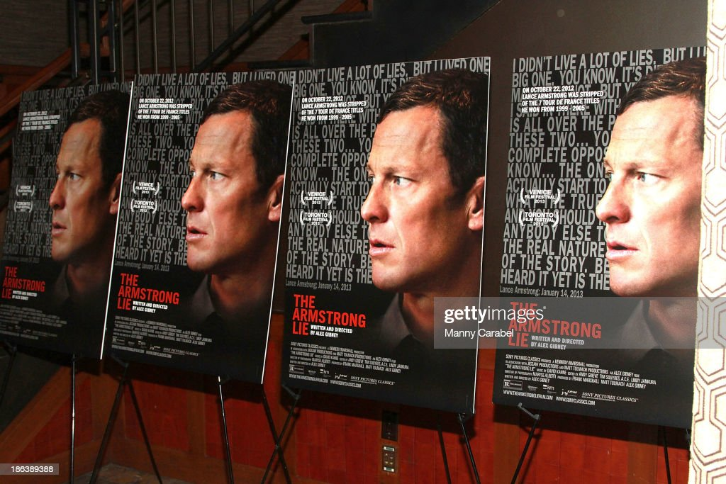 Film posters on display for 'The Armstrong Lie' premiere at the Tribeca Grand Hotel on October 30, 2013 in New York City.