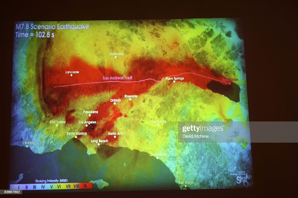 A film produced by the United States Geological Survey illustrating how shock waves from a catastrophic 78 magnitude earthquake on the San Andreas...