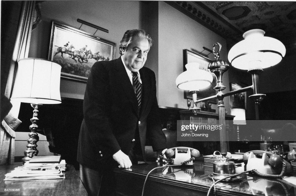 Film producer Albert R. Broccoli, aka 'Cubby' (1909 - 1996) in his London office, September 1980.