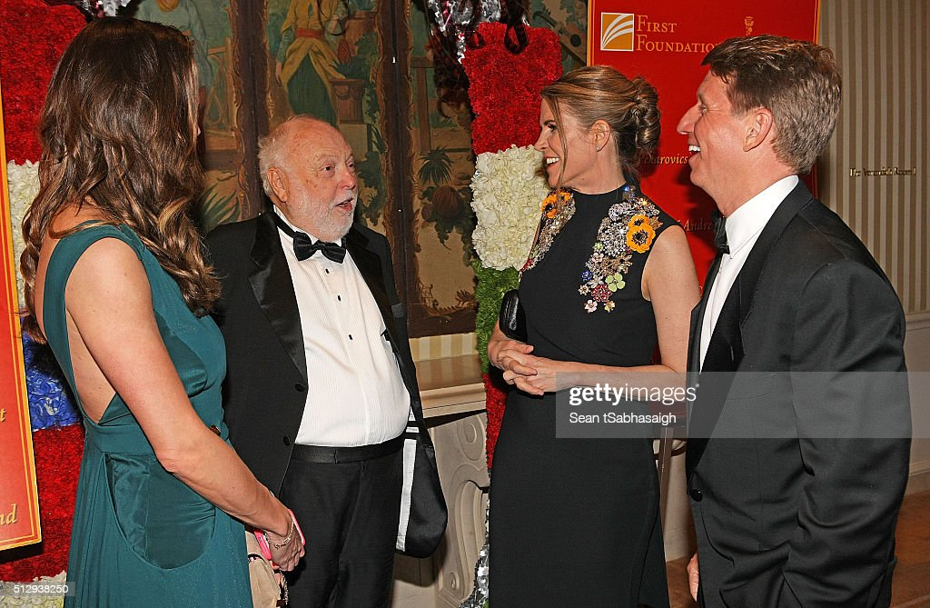Film producer and Hungarian government film industry commissioner Andrew G Vajna and wife Timea Vajna greet United States ambassador to Hungary Colleen Bradley Bell and husband, TV producer and writer Bradley P. Bell to the Pre-Oscar Hungarians in Hollywood Gala celebrating the Academy Award nominated film Son of Saul at the Peninsula Hotel on February 27, 2016 in Beverly Hills, California.