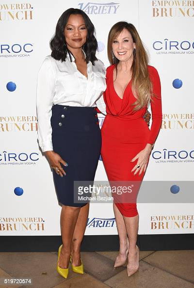 Film producer Cindy Cowan and host Garcelle Beauvais arrive at Empowered Brunch with Cindy Cowan at Four Seasons Hotel Los Angeles at Beverly Hills...