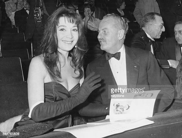 Film producer Darryl Zanuck and actress Juliette Greco at the premiere of the film 'Les Racine du Ciel' at the Palais de Chaillot in Paris 1958