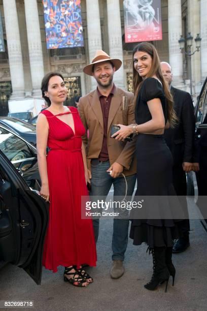 Film producer Fabiola Beracasa Beckman with Writer Derek Blasberg and Actress Bianca Brandolini d'u2019Adda day 2 of Paris Haute Couture Fashion Week...