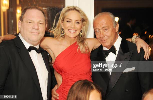 Film producer Harvey Weinstein actress Sharon Stone and Founder and President of de Grisogono Fawaz Gruosi attend a cocktail reception at the de...