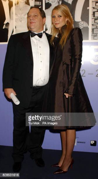 Film producer Harvey Weinstein and actress Gwyneth Paltrow arrive for the 50th anniversary gala of the NFT at the National Film Theatre on the South...