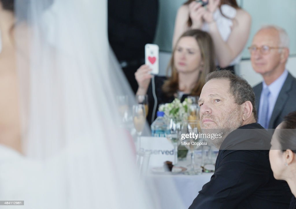 Film Producer <a gi-track='captionPersonalityLinkClicked' href=/galleries/search?phrase=Harvey+Weinstein&family=editorial&specificpeople=201749 ng-click='$event.stopPropagation()'>Harvey Weinstein</a> looks on as a model walks the runway during the Marchesa Spring 2015 Bridal collection show at Canoe Studios on April 11, 2014 in New York City.