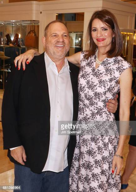 Film producer Harvey Weinstein poses with writer Plum Sykes during her book launch celebration for 'Party Girls Die In Pearls' at Brooks Brothers on...